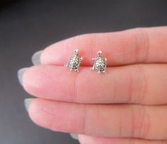 Tiny Sterling Silver Turtle Studs Earrings by GreatJewelry4All
