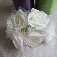 5 CM artificial rosas de espuma eva floral bouquet com seda, artesanato diy arranjo boutonniere & corsage/decoração para decoração do carro do casamento & arch(China (Mainland))