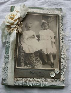 For your consideration...    Beautiful    This vintage book has been lovingly for a vintage chic I have used an orginal antique cabinet card,