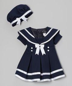 Navy Blue Sailor Dress  Beret