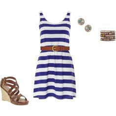 """""""Navy and Brown Summer Ensemble"""" by toribux on Polyvore"""