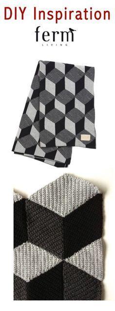 DIY Geometrical Crochet Blanket in the style of Ferm Living -- Dutch tutorial on http://www.jellina-creations.nl/2/post/2012/03/patroontje-ruit.html