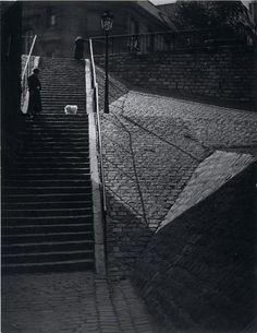 Brassaï Escalier, Montmartre with white dog. 1930s