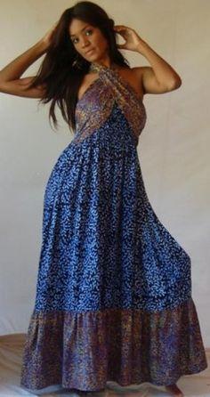 BLACK BLUE DRESS HALTER RUFFLED TWIST BATIK – « Dress Adds Everyday