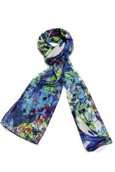 100% pure silk scarf with a blue and green print.    Size: 20 x 68 inch   Silk Scarf by Violet Del Mar. Accessories - Scarves & Wraps San Diego, California