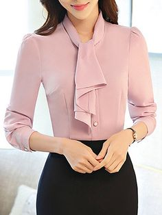 Tie Collar Single Br - January 26 2019 atCheap Online Clothin - December 30 2018 atSpira Women S Shoes Discount Cute Blouses, Blouses For Women, Blouse Styles, Blouse Designs, Cheap Womens Tops, Hijab Style, Blouse And Skirt, Long Blouse, Collar Blouse
