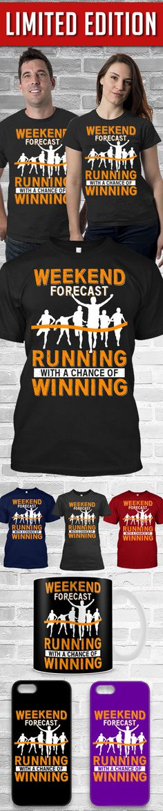 Weekend Forecast Running With A Chance Of Winning Shirt! Click The Image To Buy It Now or Tag Someone You Want To Buy This For. #running