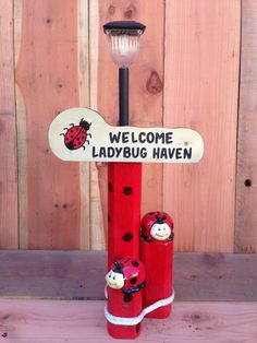 Solar Light Designs are handcrafted from landscaping timber for weather durability and includes a custom-painted sign, solar light and ladybug figurines. light crafts christmas Ladybug Haven Solar Light - Trecos Products Landscape Timber Crafts, Landscape Timbers, Landscape Design, Solar Projects, Outdoor Projects, Wood Projects, Outdoor Crafts, Solar Licht, Ladybug Garden