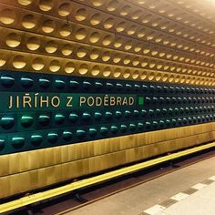metro station in prague. #prag #praha #prague #typo #typography #typographer #metro #jiriho #czech #czechrepublic #design #archidecture #crazy #goforawalk #instatype #stadion #metrostation #praha3 #gold #blue #art #picoftheday #followme #streetart #subway