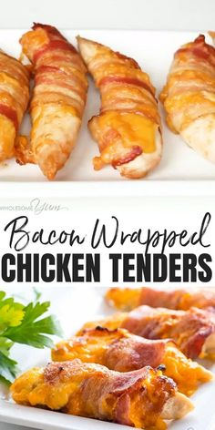 Baked Bacon Wrapped Chicken Tenders Recipe - 3 Ingredients - This easy baked bacon wrapped chicken tenders recipe needs just 3 common ingredients - chicken, bacon, and cheese! Ready in under 30 minutes. Easy Dinner Recipes, Appetizer Recipes, Low Carb Dinner Ideas, Chicken Recipes For Dinner, Best Keto Meals, Healthy Low Carb Dinners, Whole30 Dinner Recipes, Chicken Appetizers, Low Carb Desserts