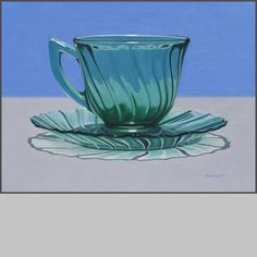 Green Cup And Saucer, oil on canvas, 18 x 24 x .88 inches