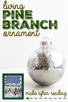 "Living Pine Branch Ornament to make after Reading ""Why Christmas Trees Are Not Perfect"":  Take a clipping from an existing pine tree and start growing a new one in a clear ornament!"