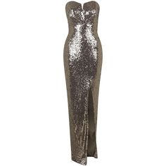 **Britania Strapless Maxi Dress by TFNC ($91) ❤ liked on Polyvore featuring dresses, khaki, sequin dresses, tight maxi dress, going out dresses, strapless maxi dress and sequin party dresses