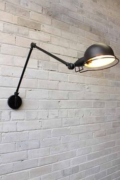 This industrial two arm light is styled on the famous French designed Jielde Signal wall lamp from the This multi directional wall light is great for task lighting activities. Loft Lighting, Task Lighting, Lighting Stores, Bedside Lighting, Lighting Design, Luminaire Applique, Mid Century Lighting, Unique Lamps, Cuisines Design