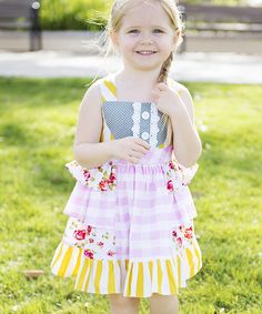 Take a look at this Yellow & Pink Ruffle Tie-Back Dress - Infant, Toddler & Girls on zulily today!