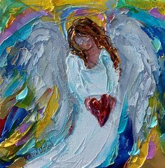 Angel of my Heart painting original oil 6x6 palette knife #angel #hearts