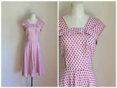 vintage 1940s pinafore dress  ZEBRINA seersucker floral by MsTips, $44.00