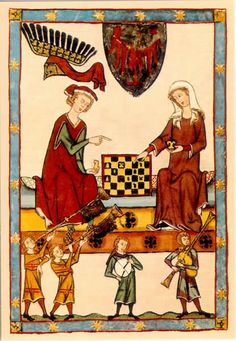 1301-1333 Zürich    Le Roi Otto IV de Brandenburg jouant aux échecs avec une…
