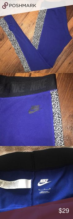 Nike leggings size Medium Great, comfy pants! No damage. Super long and has a heel hole so you can wear it over the heel. Cotton and spandex. Pants Leggings