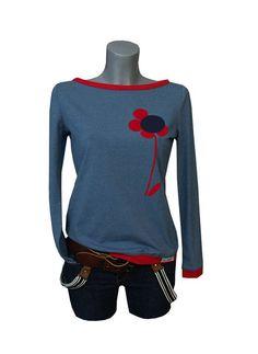 """Longsleeves - Iza Fabian - Longseeve """"Jeans Flower """" mittelblau - ein Designerstück von Iza-Fabian-Design bei DaWanda"""