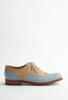 Beige and Pale Blue Leather Rose Brogue by Grenson