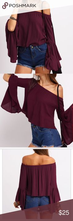 """Bell Sleeve Off Shoulder Blouse OSFA Bell Sleeve Off Shoulder Blouse. Blouse measures 13"""" from the """"shoulder"""" to hem. Bust measures 14 1/2"""" laying flat. Blouse is in excellent condition with no signs of wear. Comes from a Smoke Free/Pet Friendly home. Offers always welcome. Fast Fashion Online Tops Blouses"""