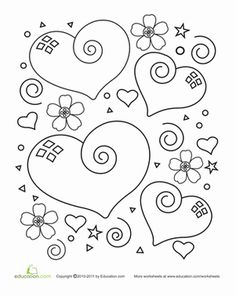 Heart Coloring Page Coloring pages are a great way to end a Sunday