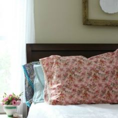 Making lace trimmed pillowcases with French seams is easy.  Follow this tutorial and welcome spring to your home with color.
