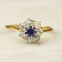 Antique Sapphire and Diamond Flower Cluster by ArtifactVintage, $815.00