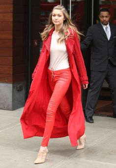 Gigi Hadid looks stunning in red strolling around new york streets