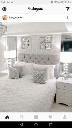 Remodel bedroom - love the lamps and the bed between the two windows Room Ideas Bedroom, Home Decor Bedroom, Living Room Decor, Diy Bedroom, Master Bedroom, Living Rooms, Luxury Bedroom Design, Interior Design, Silver Bedroom