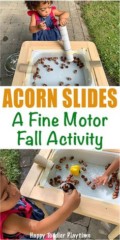 Acorn Slides A Fine Motor Fall Activity - HAPPY TODDLER PLAYTIME Set up this fun fine motor activity for your toddler this Fall. Its super simple to set up and a great way to entertain your toddler after going on an Autumn walk. #fallactivities #sensorybin #