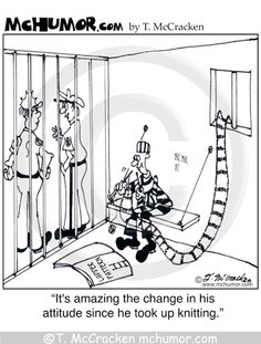 "Knitting Cartoon 4536: A prisoner in a cell knits a ladder that goes out the window. A guard not seeing this says, ""It's amazing the change in his attitude since he took up knitting."""