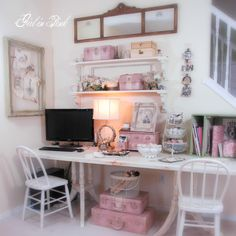 Creative space (from One Girl In Pink) Paint vintage luggage, tool boxes and lunch boxes for pretty, practical storage.