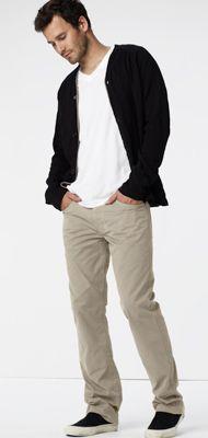 simple, spring, black cardigan over white v-collar tee, beige chino pants, black sneaks / men fashion