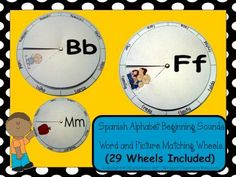 Spanish+Alphabet+Beginning+Sounds+-+Word+and+Picture+Matching+Wheels+from+Bilingual+Resources+on+TeachersNotebook.com+-++(122+pages)++-+This+activity+is+great+for+Literacy+Stations.+The+122+page+download+is+full+of+learning.+(29+Alphabet+Wheels+Included) +In+this+fun+activity,+students+use+the+wheels+to+find+words+while+looking+at+pictures+on+the+wheel.+Once+they+find+the+correct+word,+th