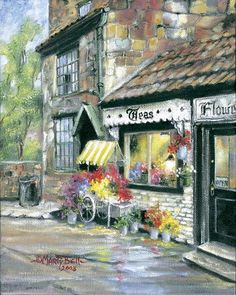 """The Flower Cart"" painting by: Marty Bell"