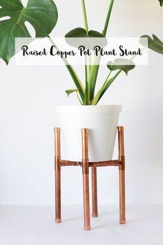 DIY Raised Copper Pipe Pot Plant Stand