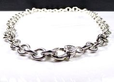 Judith Ripka Sterling Silver Heart Lock Verona Rolo Link Cable 58 Gr Necklace #JudithRipka #Chain