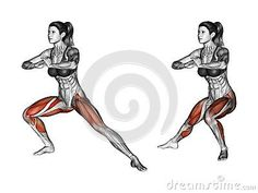Fitness exercising. Side lunges. Female