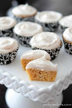 Sweet Potato Cupcakes with Cinnamon Sugar Cream Cheese Frosting.