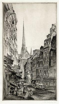 La Rue Sauton Paris (The South Transept of Notre Dame, Seen From the Rue Sauton), 1924, John Taylor Arms