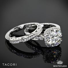 Platinum Tacori Dantela Crown Diamond Engagement Ring