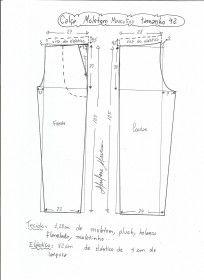 Esquema de modelagem de calça de moletom masculina tamanho 42.