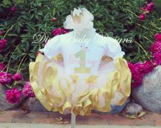 First birthday outfit girl, Girls Birthday Outfit- Baby girls first birthday outfit in pink silver and white Ribbon trimmed Tutu Gold First Birthday Outfit, Baby Girl First Birthday, Pink Crown, Custom Quilts, White Ribbon, Pink And Gold, First Birthdays, Christmas Bulbs, Girl Outfits