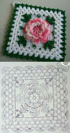 Tack with a flower knitted a hook. A beautiful tack for kitchen a hook rose, crochet, can be a nice d - Salvabrani Another inspiring and simple c This Pin was discovered by Cla Shrink your URLs and get paid!Handmade shabby chic crochet tablet cover w Crochet Flower Squares, Crochet Doily Diagram, Crochet Blocks, Granny Square Crochet Pattern, Crochet Flower Patterns, Afghan Crochet Patterns, Crochet Chart, Crochet Granny, Crochet Motif
