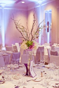 Pink and white flower twigs centrepiece