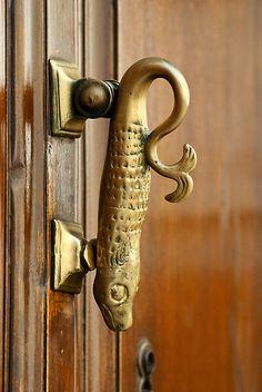 ♅ Detailed Doors to Drool Over ♅ art photographs of door knockers, hardware & portals - Spanish fish door handle
