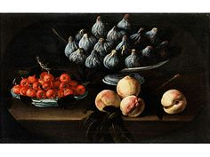 Luis Melendez, attributed (1716 Naples - 1780 Madrid), Still life with figs in serving bowl and plate withe cherries and peaches