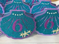 Mermaid shell invitations Sold as individual invites, made to order. Mermaid shell in Mermaid Invitations, Invites, Mermaid Shell, 5th Birthday, Shells, Colours, Messages, Purple, Kids